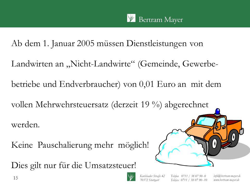 """15 Ab dem 1. Januar 2005 müssen Dienstleistungen von Landwirten an """"Nicht-Landwirte"""" (Gemeinde, Gewerbe- betriebe und Endverbraucher) von 0,01 Euro an"""
