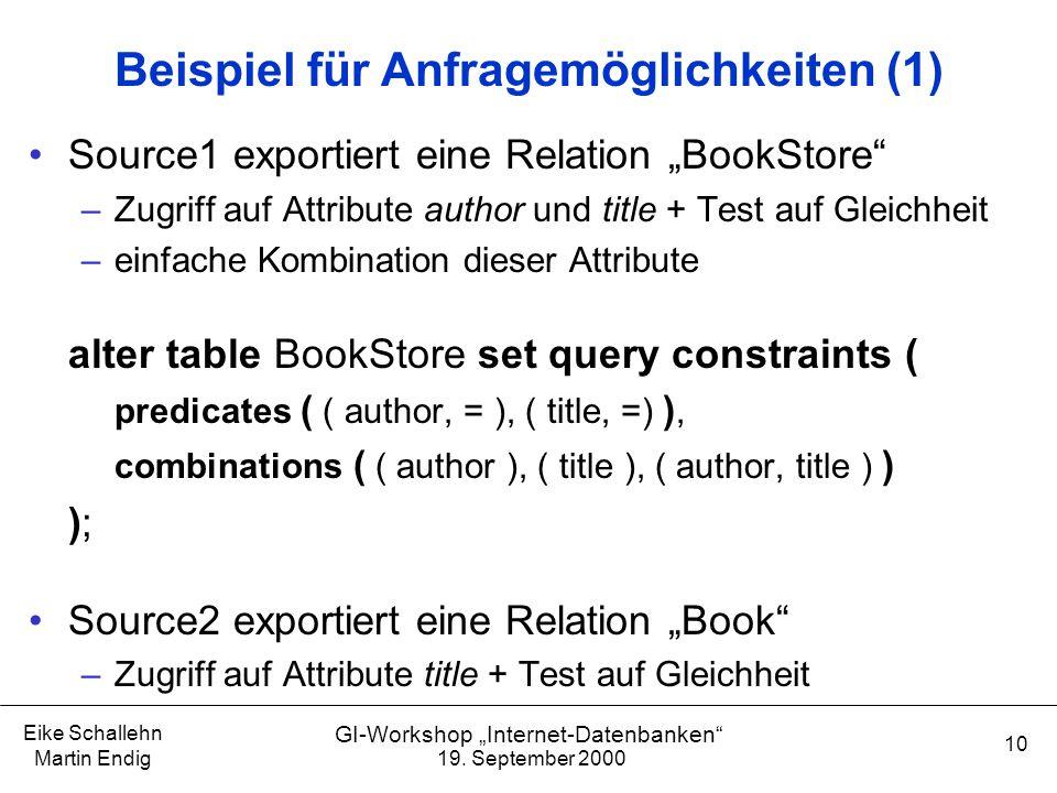 """19. September 2000 Eike Schallehn Martin Endig 10 GI-Workshop """"Internet-Datenbanken"""" Beispiel für Anfragemöglichkeiten (1) Source1 exportiert eine Rel"""