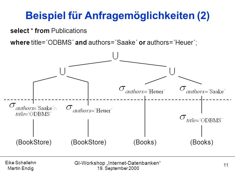 """19. September 2000 Eike Schallehn Martin Endig 11 GI-Workshop """"Internet-Datenbanken"""" Beispiel für Anfragemöglichkeiten (2) (BookStore) (Books) select"""