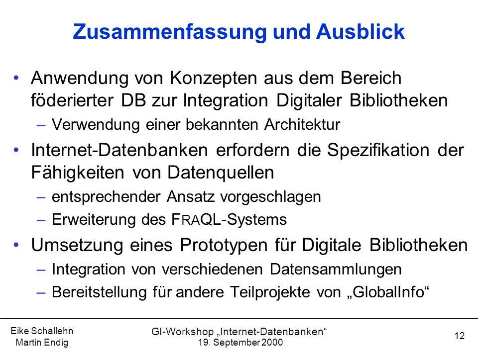 """19. September 2000 Eike Schallehn Martin Endig 12 GI-Workshop """"Internet-Datenbanken"""" Zusammenfassung und Ausblick Anwendung von Konzepten aus dem Bere"""