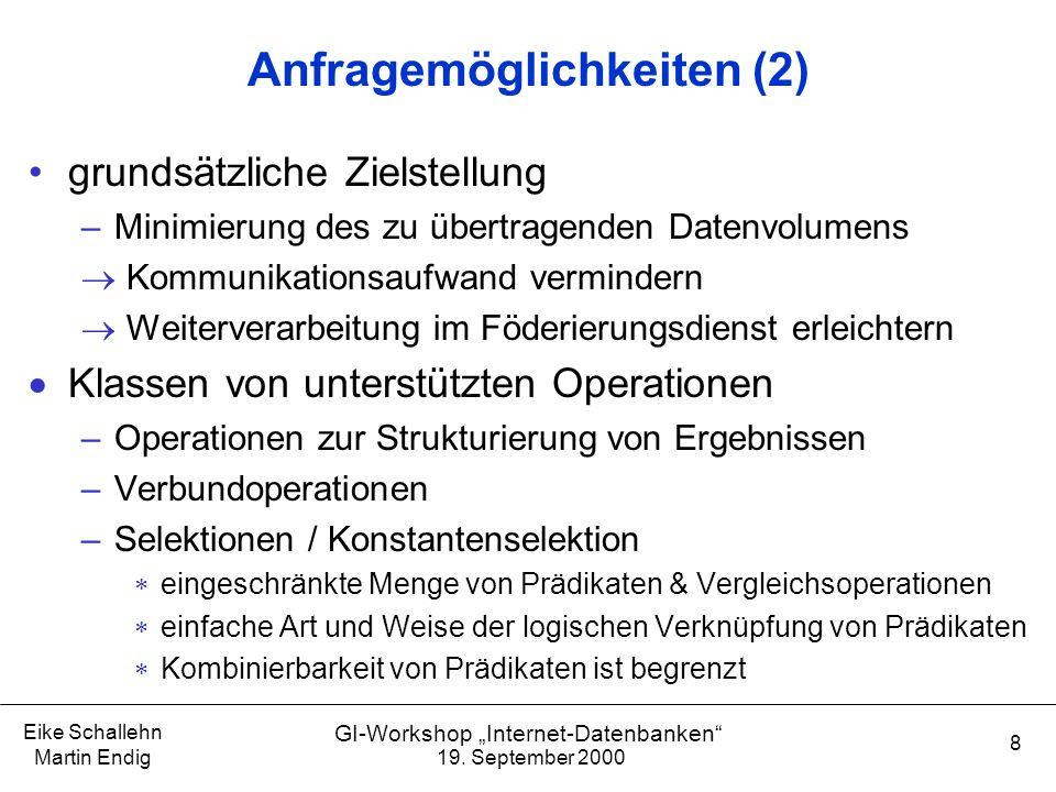"""19. September 2000 Eike Schallehn Martin Endig 8 GI-Workshop """"Internet-Datenbanken"""" Anfragemöglichkeiten (2) grundsätzliche Zielstellung –Minimierung"""