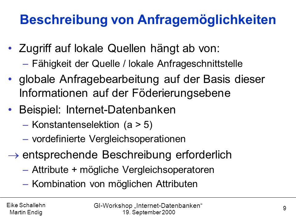 """19. September 2000 Eike Schallehn Martin Endig 9 GI-Workshop """"Internet-Datenbanken"""" Beschreibung von Anfragemöglichkeiten Zugriff auf lokale Quellen h"""