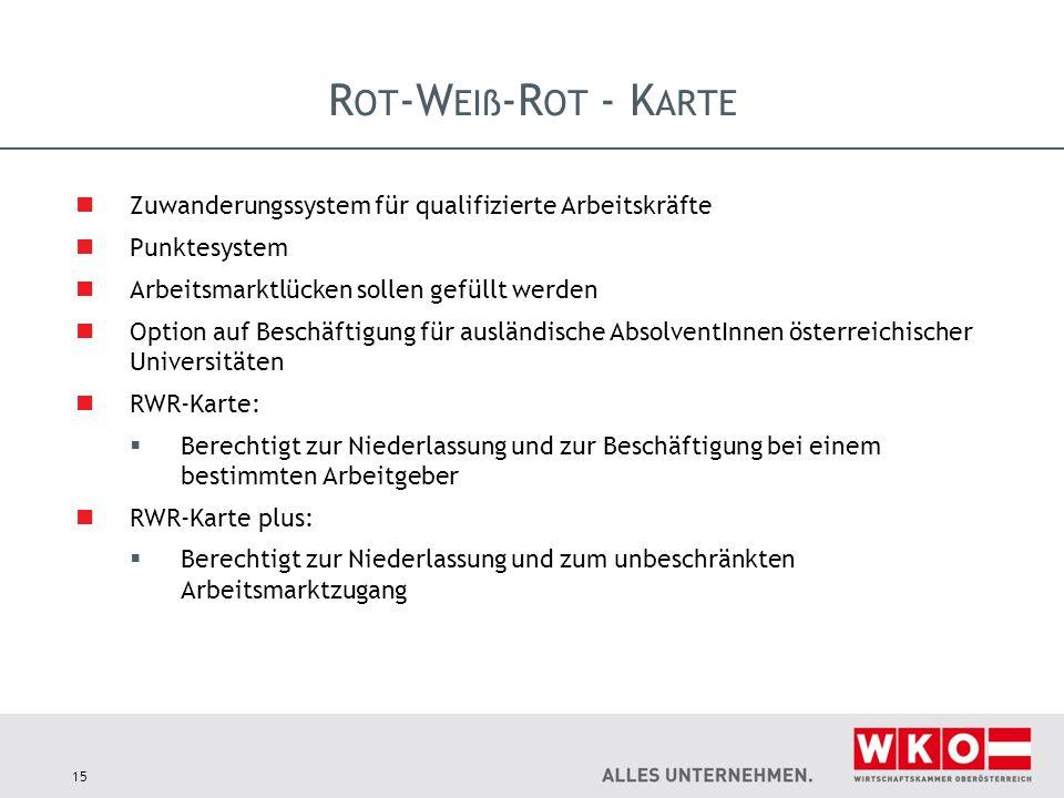 R OT -W EIß -R OT - K ARTE Zuwanderungssystem für qualifizierte Arbeitskräfte Punktesystem Arbeitsmarktlücken sollen gefüllt werden Option auf Beschäf