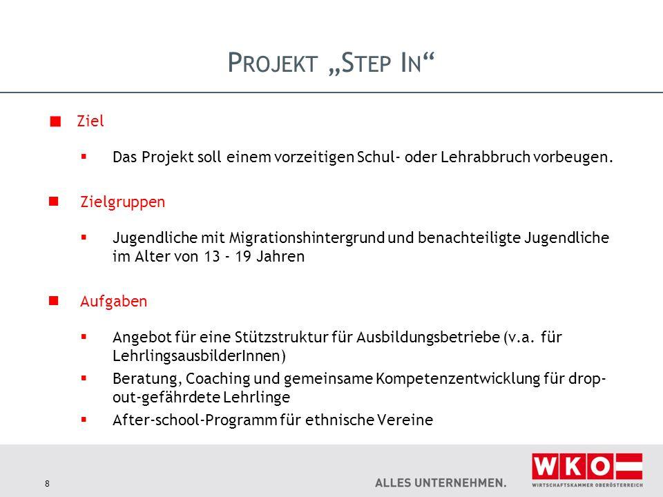8 Ziel  Das Projekt soll einem vorzeitigen Schul- oder Lehrabbruch vorbeugen. Zielgruppen  Jugendliche mit Migrationshintergrund und benachteiligte