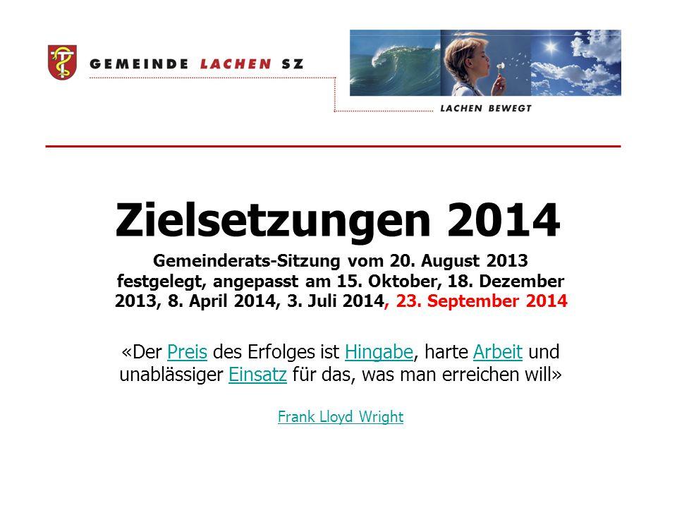 Zielsetzungen 2014 Gemeinderats-Sitzung vom 20. August 2013 festgelegt, angepasst am 15.
