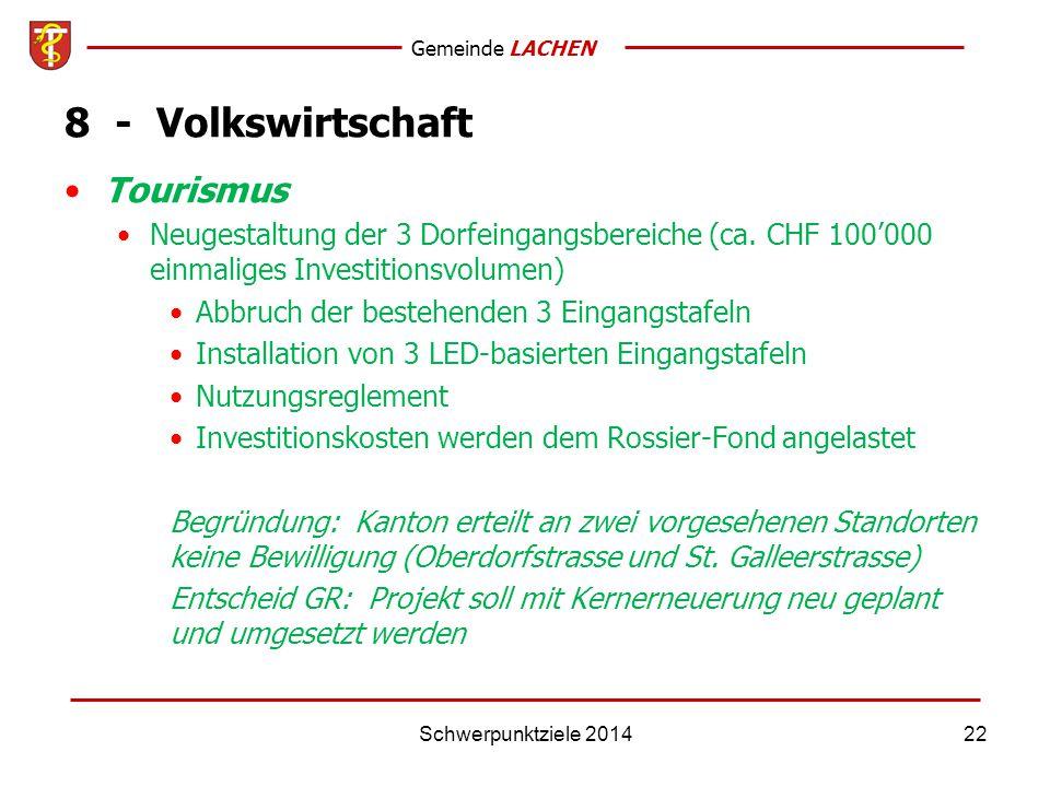 Gemeinde LACHEN Schwerpunktziele 201422 8 - Volkswirtschaft Tourismus Neugestaltung der 3 Dorfeingangsbereiche (ca.