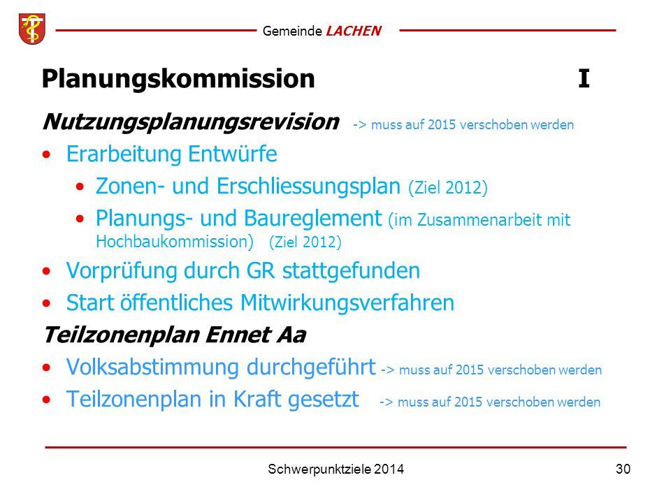 Gemeinde LACHEN Schwerpunktziele 201430 PlanungskommissionI Nutzungsplanungsrevision -> muss auf 2015 verschoben werden Erarbeitung Entwürfe Zonen- und Erschliessungsplan (Ziel 2012) Planungs- und Baureglement (im Zusammenarbeit mit Hochbaukommission) (Ziel 2012) Vorprüfung durch GR stattgefunden Start öffentliches Mitwirkungsverfahren Teilzonenplan Ennet Aa Volksabstimmung durchgeführt -> muss auf 2015 verschoben werden Teilzonenplan in Kraft gesetzt -> muss auf 2015 verschoben werden