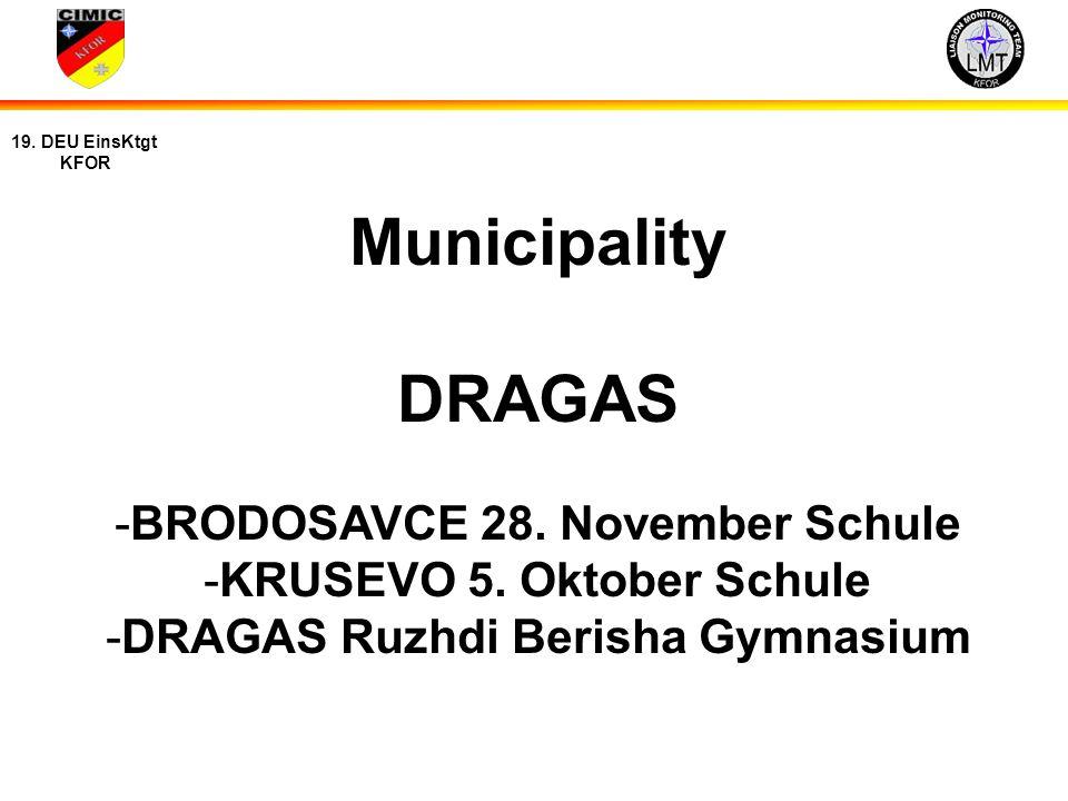 15 19. DEU EinsKtgt KFOR Municipality DRAGAS -BRODOSAVCE 28. November Schule -KRUSEVO 5. Oktober Schule -DRAGAS Ruzhdi Berisha Gymnasium