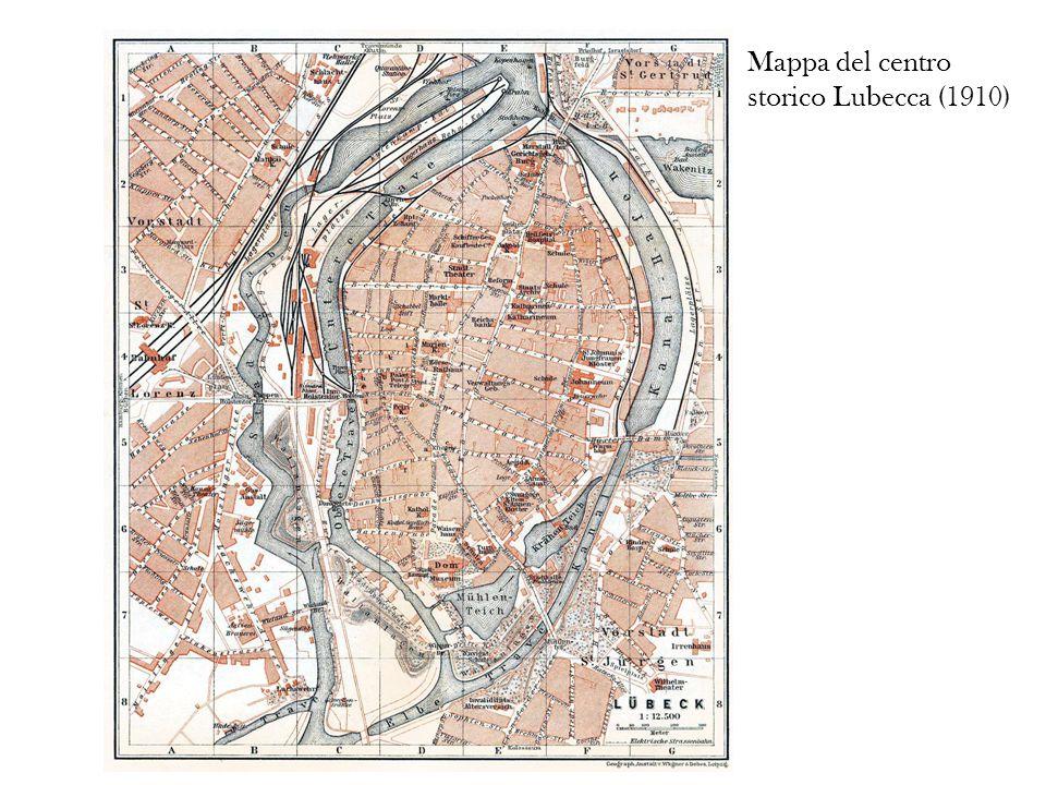 Mappa del centro storico Lubecca (1910)