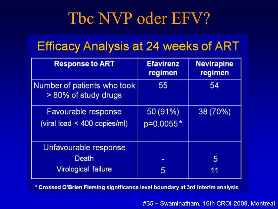 Tbc NVP oder EFV? #35 – Swaminatham, 16th CROI 2009, Montreal