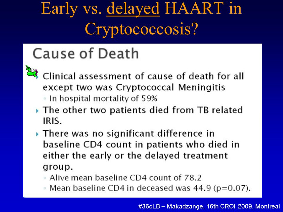 Early vs. delayed HAART in Cryptococcosis #36cLB – Makadzange, 16th CROI 2009, Montreal