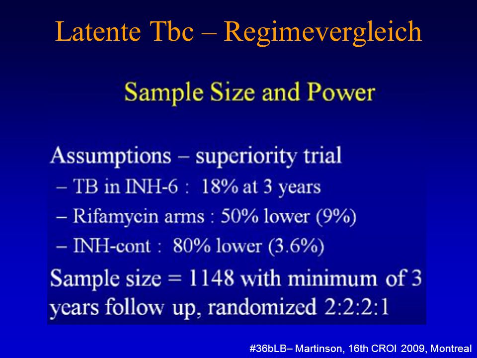 Latente Tbc – Regimevergleich #36bLB– Martinson, 16th CROI 2009, Montreal