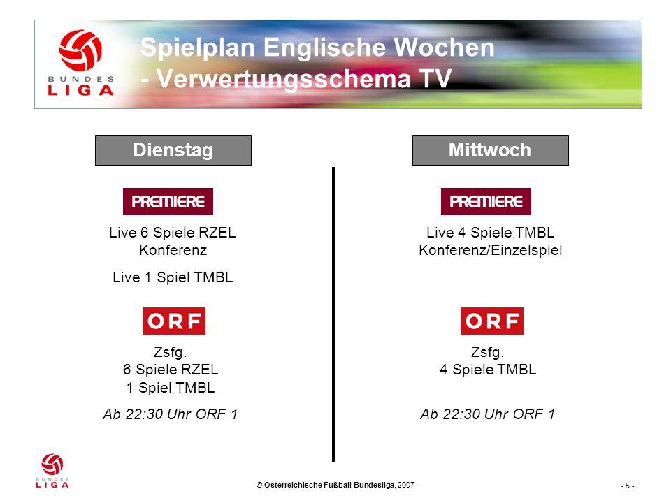- 5 - © Österreichische Fußball-Bundesliga, 2007 Spielplan Englische Wochen - Verwertungsschema TV MittwochDienstag Live 4 Spiele TMBL Konferenz/Einzelspiel Zsfg.