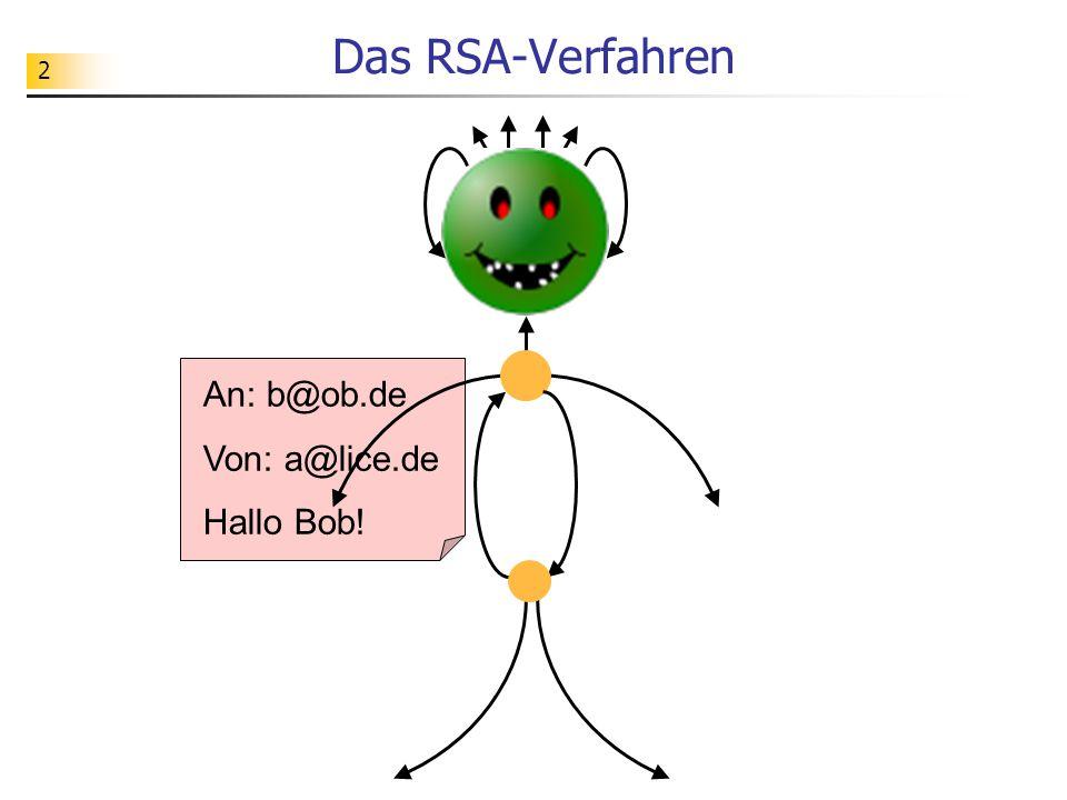 2 Das RSA-Verfahren An: b@ob.de Von: a@lice.de Hallo Bob!