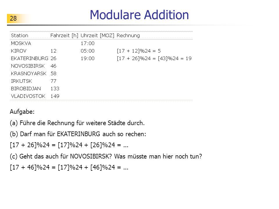 28 Modulare Addition Aufgabe: (a) Führe die Rechnung für weitere Städte durch.