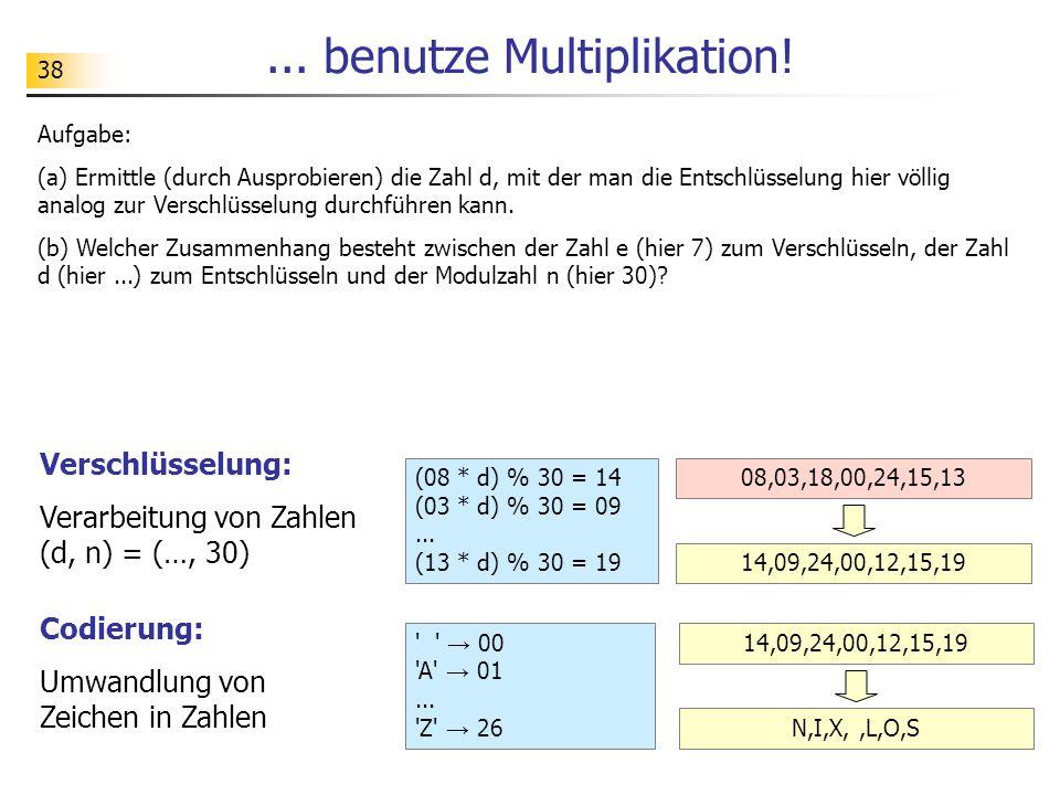 38...benutze Multiplikation. (08 * d) % 30 = 14 (03 * d) % 30 = 09...