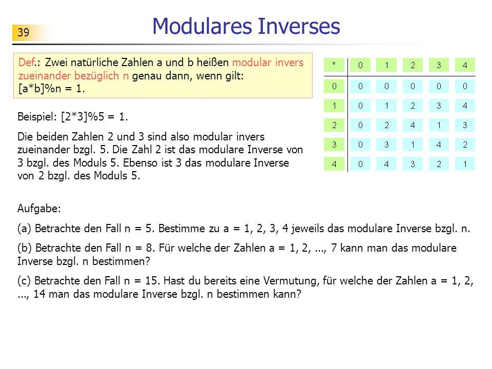 39 Modulares Inverses Def.: Zwei natürliche Zahlen a und b heißen modular invers zueinander bezüglich n genau dann, wenn gilt: [a*b]%n = 1.