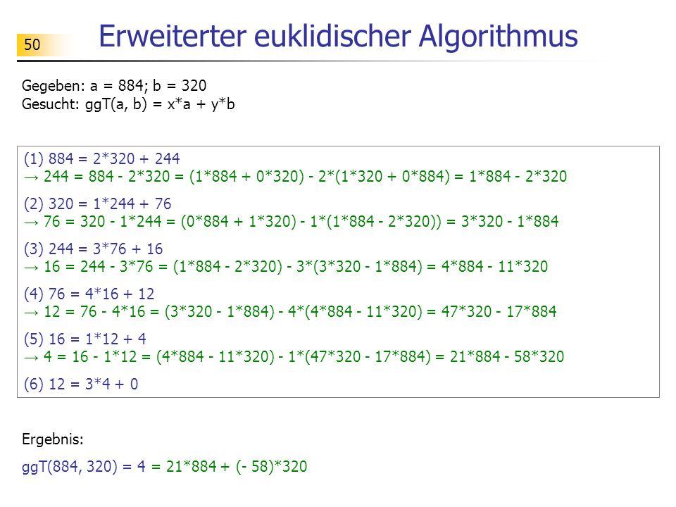 50 Erweiterter euklidischer Algorithmus (1) 884 = 2*320 + 244 → 244 = 884 - 2*320 = (1*884 + 0*320) - 2*(1*320 + 0*884) = 1*884 - 2*320 (2) 320 = 1*244 + 76 → 76 = 320 - 1*244 = (0*884 + 1*320) - 1*(1*884 - 2*320)) = 3*320 - 1*884 (3) 244 = 3*76 + 16 → 16 = 244 - 3*76 = (1*884 - 2*320) - 3*(3*320 - 1*884) = 4*884 - 11*320 (4) 76 = 4*16 + 12 → 12 = 76 - 4*16 = (3*320 - 1*884) - 4*(4*884 - 11*320) = 47*320 - 17*884 (5) 16 = 1*12 + 4 → 4 = 16 - 1*12 = (4*884 - 11*320) - 1*(47*320 - 17*884) = 21*884 - 58*320 (6) 12 = 3*4 + 0 Gegeben: a = 884; b = 320 Gesucht: ggT(a, b) = x*a + y*b Ergebnis: ggT(884, 320) = 4 = 21*884 + (- 58)*320