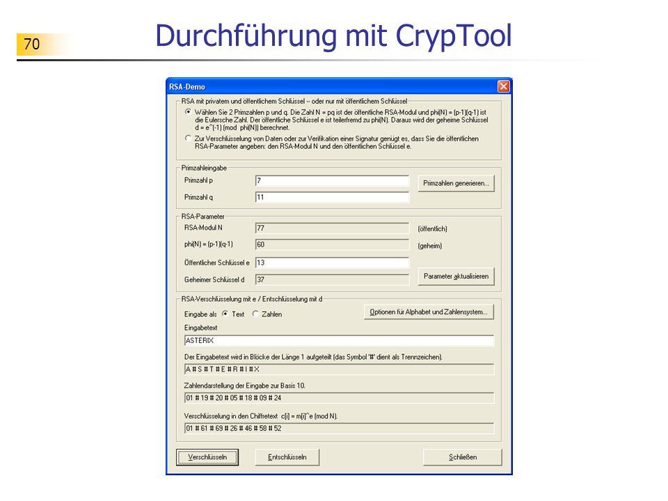 70 Durchführung mit CrypTool
