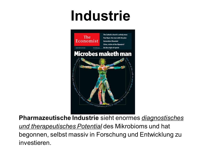 Industrie Pharmazeutische Industrie sieht enormes diagnostisches und therapeutisches Potential des Mikrobioms und hat begonnen, selbst massiv in Forsc