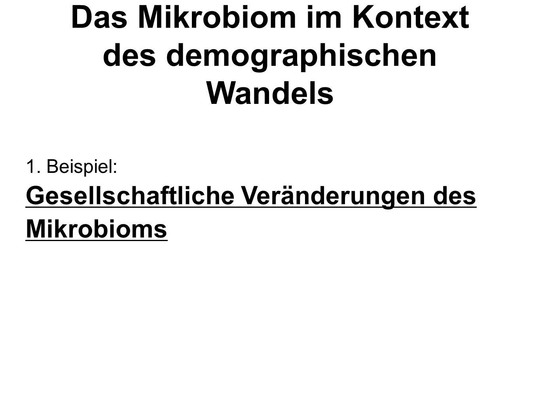 1. Beispiel: Gesellschaftliche Veränderungen des Mikrobioms Das Mikrobiom im Kontext des demographischen Wandels