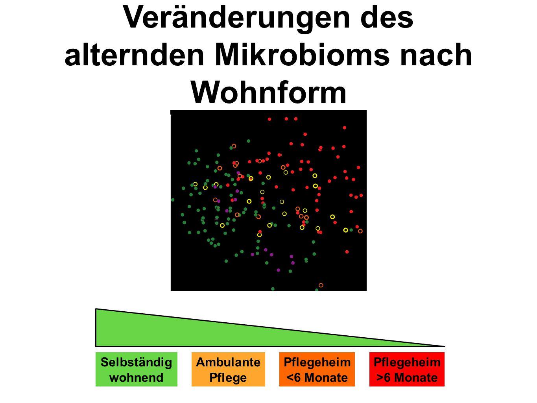 Veränderungen des alternden Mikrobioms nach Wohnform Selbständig wohnend Ambulante Pflege Pflegeheim <6 Monate Pflegeheim >6 Monate