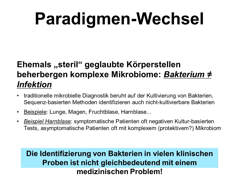 """Paradigmen-Wechsel Die Identifizierung von Bakterien in vielen klinischen Proben ist nicht gleichbedeutend mit einem medizinischen Problem! Ehemals """"s"""