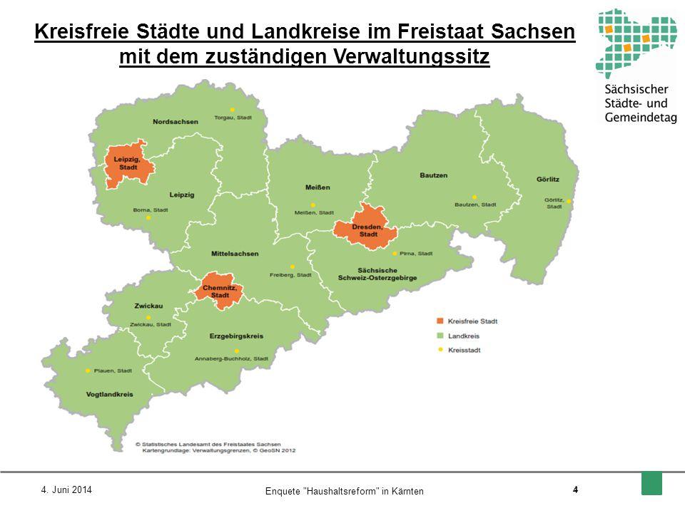 Kreisfreie Städte und Landkreise im Freistaat Sachsen mit dem zuständigen Verwaltungssitz 4. Juni 2014 4 Enquete