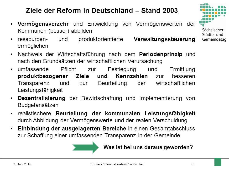 Ziele der Reform in Deutschland – Stand 2003 Vermögensverzehr und Entwicklung von Vermögenswerten der Kommunen (besser) abbilden ressourcen- und produ
