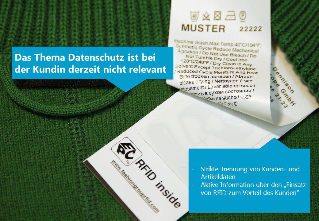 """Das Thema Datenschutz ist bei der Kundin derzeit nicht relevant -Strikte Trennung von Kunden- und Artikeldaten -Aktive Information über den """"Einsatz von RFID zum Vorteil des Kunden -Strikte Trennung von Kunden- und Artikeldaten -Aktive Information über den """"Einsatz von RFID zum Vorteil des Kunden"""