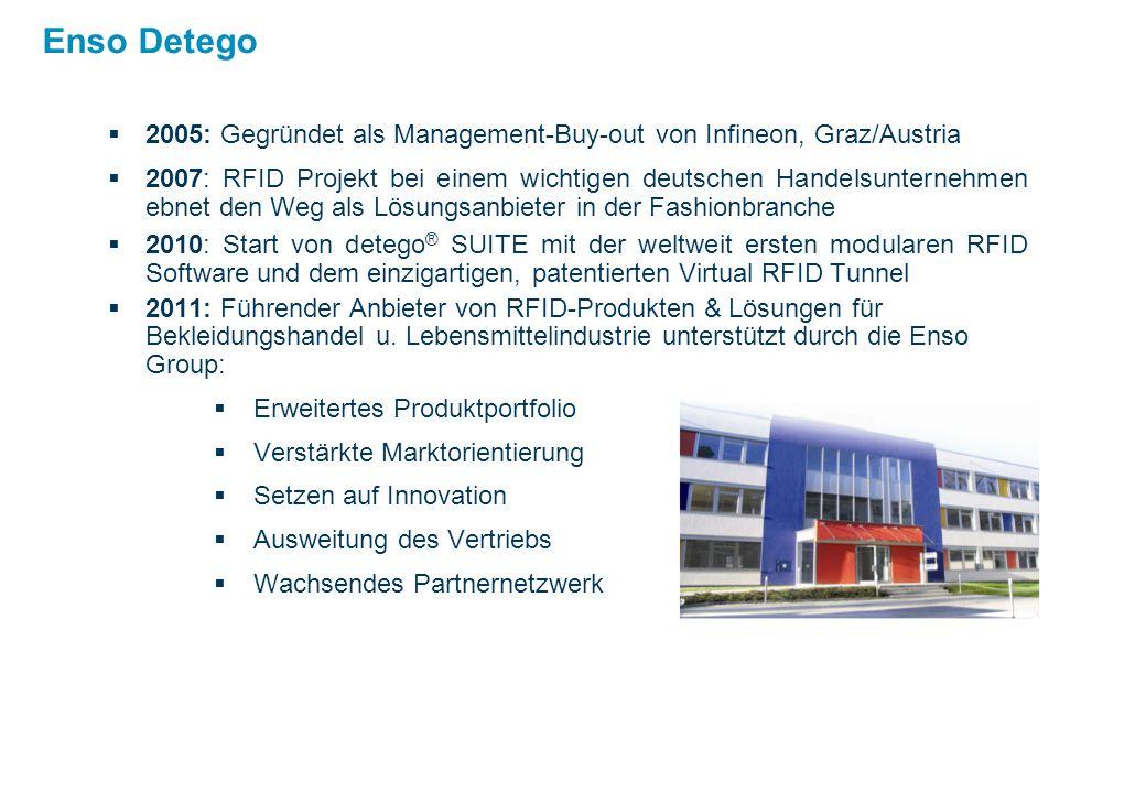 Enso Detego  2005: Gegründet als Management-Buy-out von Infineon, Graz/Austria  2007: RFID Projekt bei einem wichtigen deutschen Handelsunternehmen ebnet den Weg als Lösungsanbieter in der Fashionbranche  2010: Start von detego ® SUITE mit der weltweit ersten modularen RFID Software und dem einzigartigen, patentierten Virtual RFID Tunnel  2011: Führender Anbieter von RFID-Produkten & Lösungen für Bekleidungshandel u.