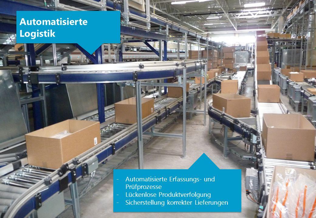 Automatisierte Logistik Automatisierte Logistik -Automatisierte Erfassungs- und Prüfprozesse -Lückenlose Produktverfolgung -Sicherstellung korrekter L
