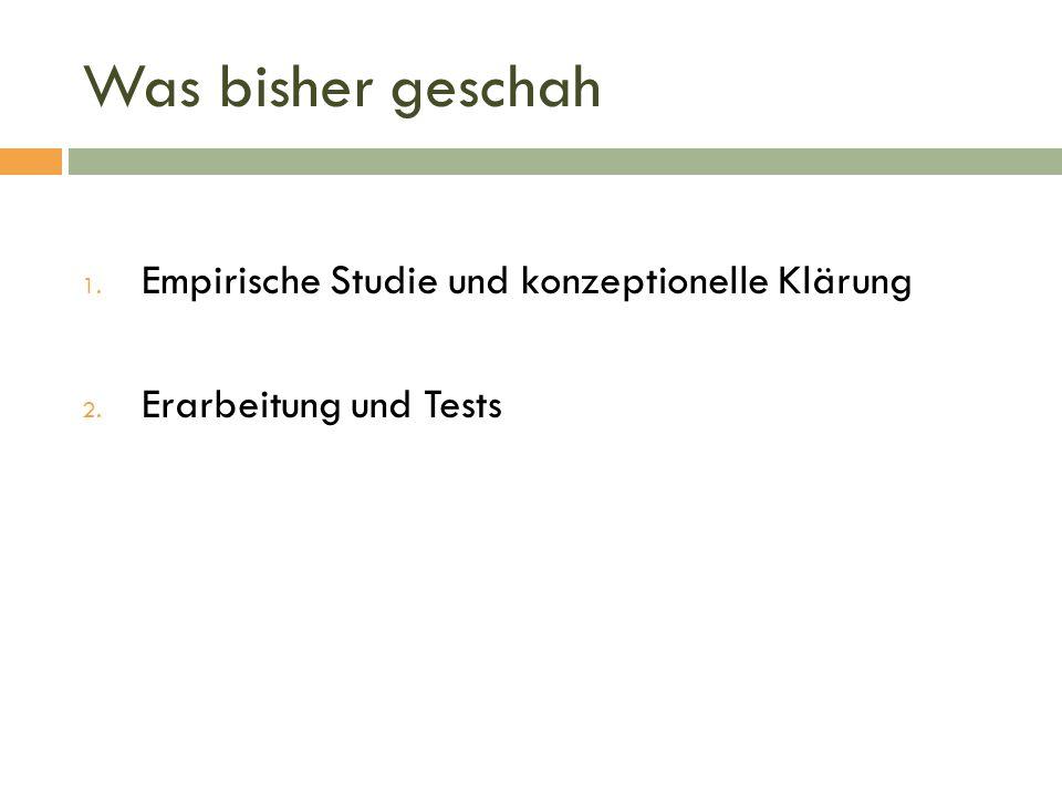 Was bisher geschah 1. Empirische Studie und konzeptionelle Klärung 2. Erarbeitung und Tests