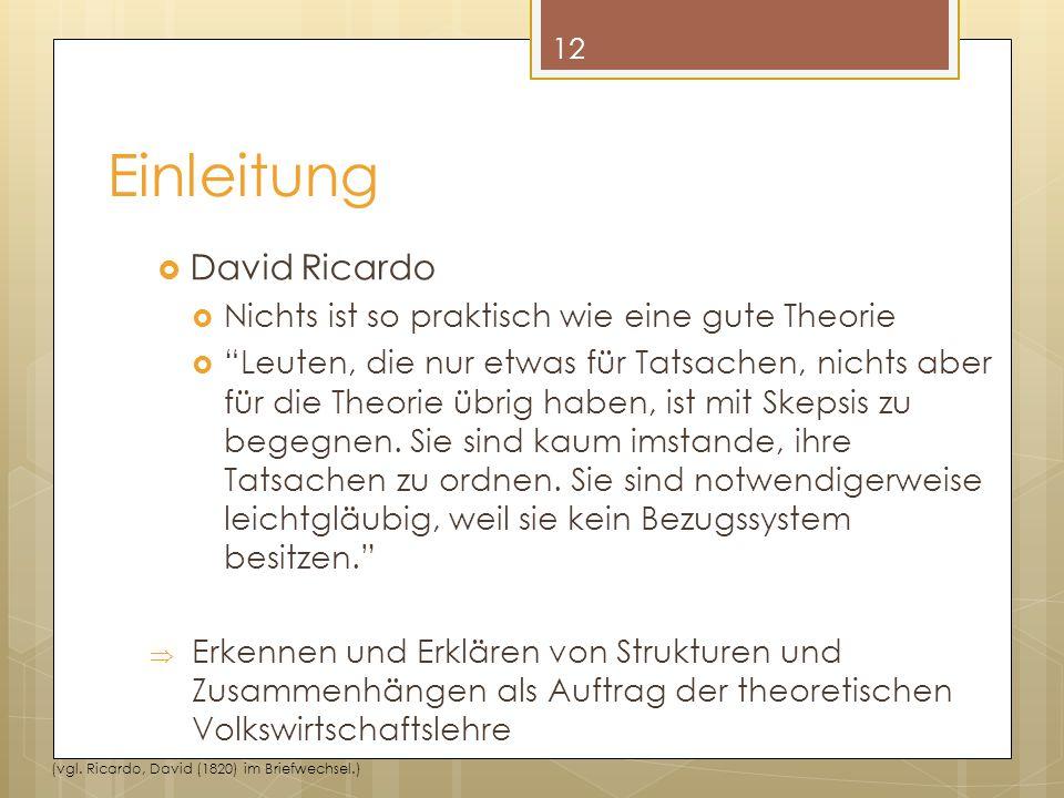 """Einleitung  David Ricardo  Nichts ist so praktisch wie eine gute Theorie  """"Leuten, die nur etwas für Tatsachen, nichts aber für die Theorie übrig h"""