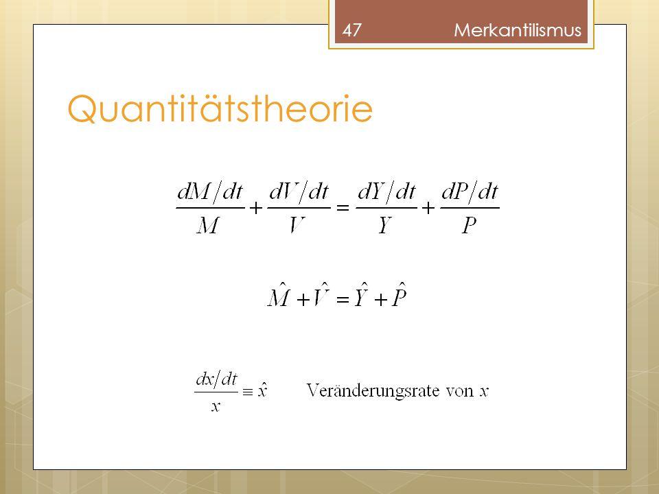 Quantitätstheorie 47Merkantilismus
