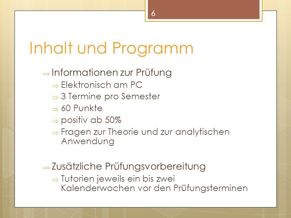 Inhalt und Programm  Informationen zur Prüfung  Elektronisch am PC  3 Termine pro Semester  60 Punkte  positiv ab 50%  Fragen zur Theorie und zu