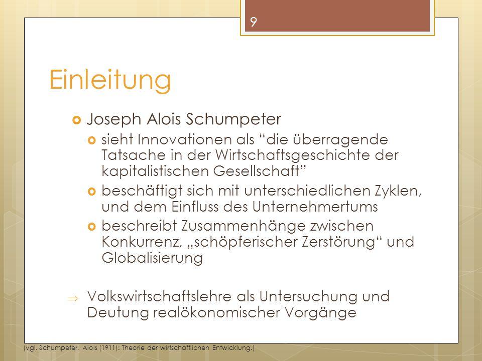 """ Joseph Alois Schumpeter  sieht Innovationen als """"die überragende Tatsache in der Wirtschaftsgeschichte der kapitalistischen Gesellschaft""""  beschäf"""