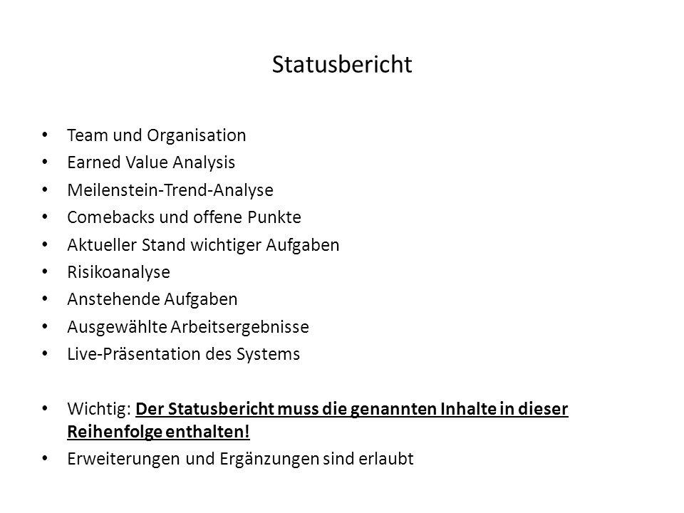 Statusbericht Team und Organisation Earned Value Analysis Meilenstein-Trend-Analyse Comebacks und offene Punkte Aktueller Stand wichtiger Aufgaben Ris