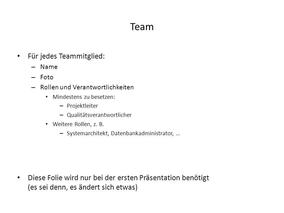 Team Für jedes Teammitglied: – Name – Foto – Rollen und Verantwortlichkeiten Mindestens zu besetzen: – Projektleiter – Qualitätsverantwortlicher Weite
