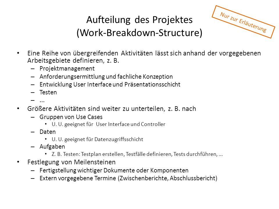 Aufteilung des Projektes (Work-Breakdown-Structure) Eine Reihe von übergreifenden Aktivitäten lässt sich anhand der vorgegebenen Arbeitsgebiete defini