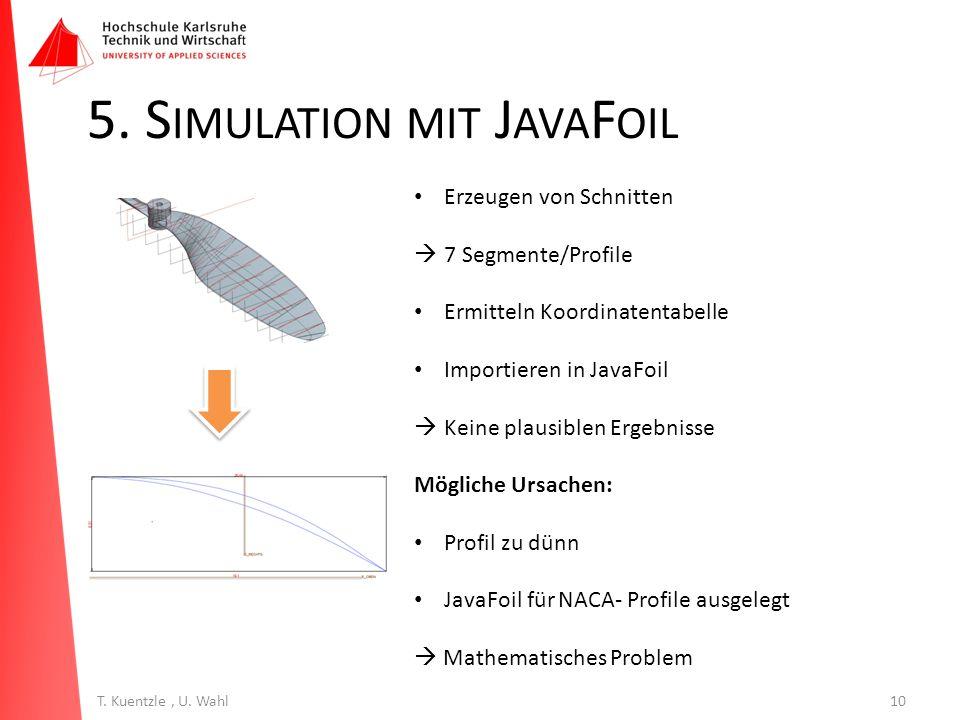 10T. Kuentzle, U. Wahl 5. S IMULATION MIT J AVA F OIL Erzeugen von Schnitten  7 Segmente/Profile Ermitteln Koordinatentabelle Importieren in JavaFoil