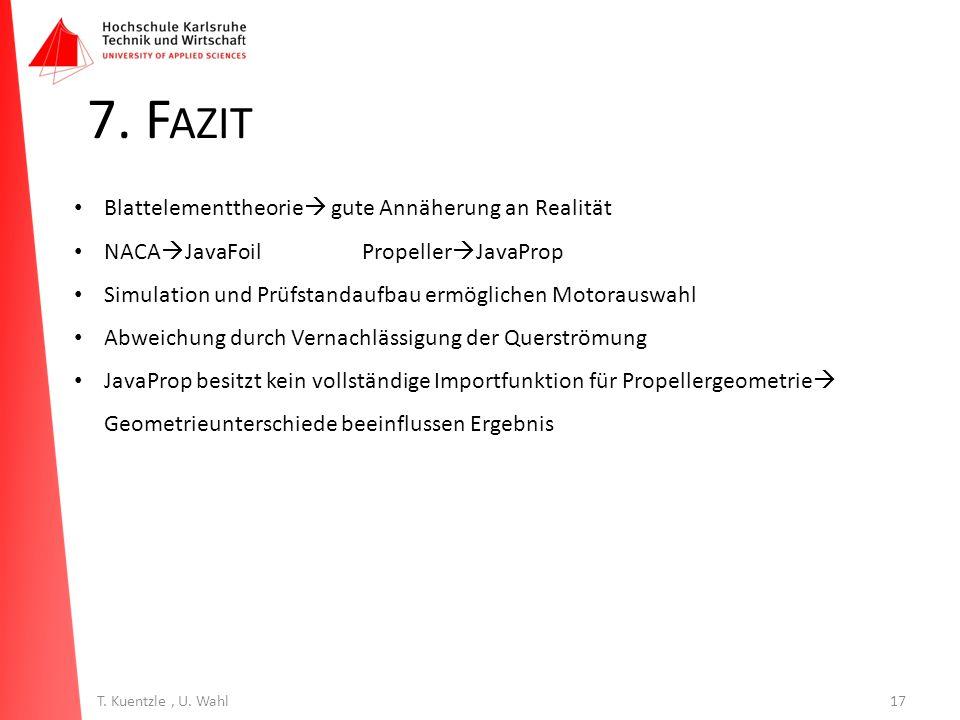 17T. Kuentzle, U. Wahl 7. F AZIT Blattelementtheorie  gute Annäherung an Realität NACA  JavaFoilPropeller  JavaProp Simulation und Prüfstandaufbau