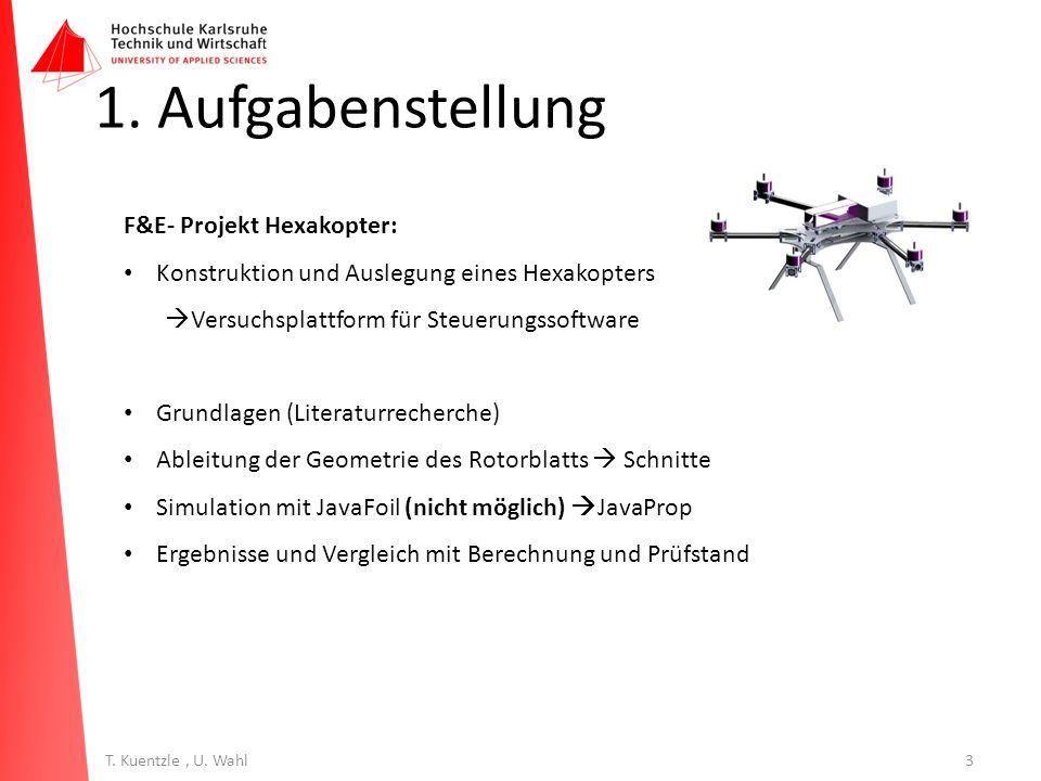 3T. Kuentzle, U. Wahl 1. Aufgabenstellung F&E- Projekt Hexakopter: Konstruktion und Auslegung eines Hexakopters  Versuchsplattform für Steuerungssoft