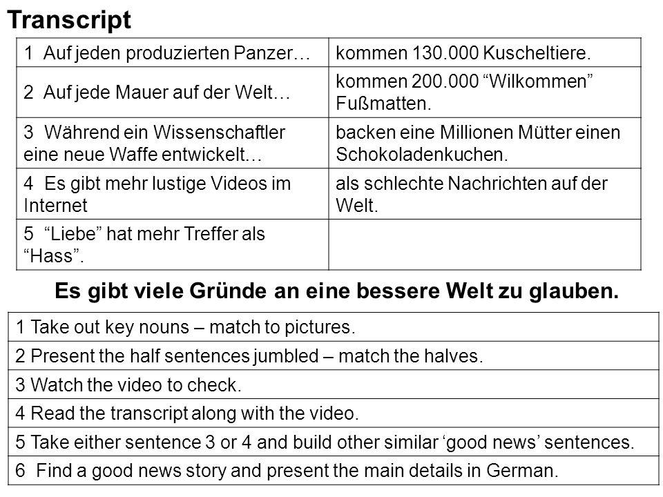 """Transcript 1 Auf jeden produzierten Panzer…kommen 130.000 Kuscheltiere. 2 Auf jede Mauer auf der Welt… kommen 200.000 """"Wilkommen"""" Fußmatten. 3 Während"""