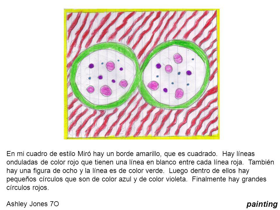 En mi cuadro de estilo Miró hay un borde amarillo, que es cuadrado. Hay líneas onduladas de color rojo que tienen una línea en blanco entre cada línea