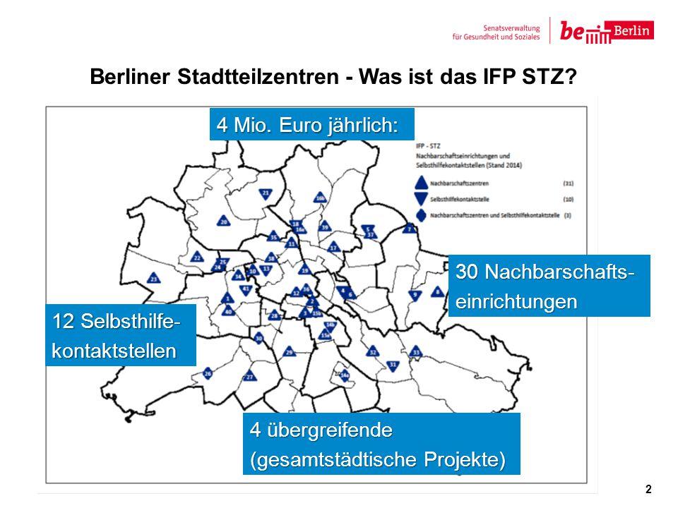 Berliner Stadtteilzentren - Was ist das IFP STZ? Karte Berlin mit Einrichtungen 2 4 übergreifende (gesamtstädtische Projekte) 12 Selbsthilfe- kontakts