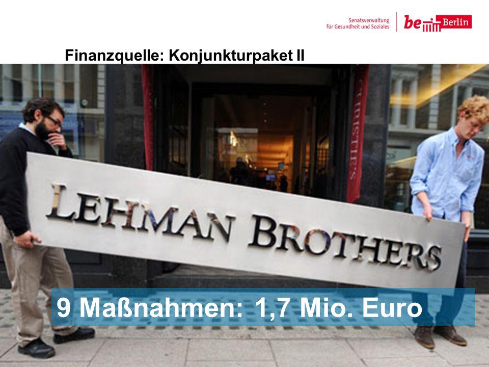 Finanzquelle: Konjunkturpaket II 7 9 Maßnahmen: 1,7 Mio. Euro