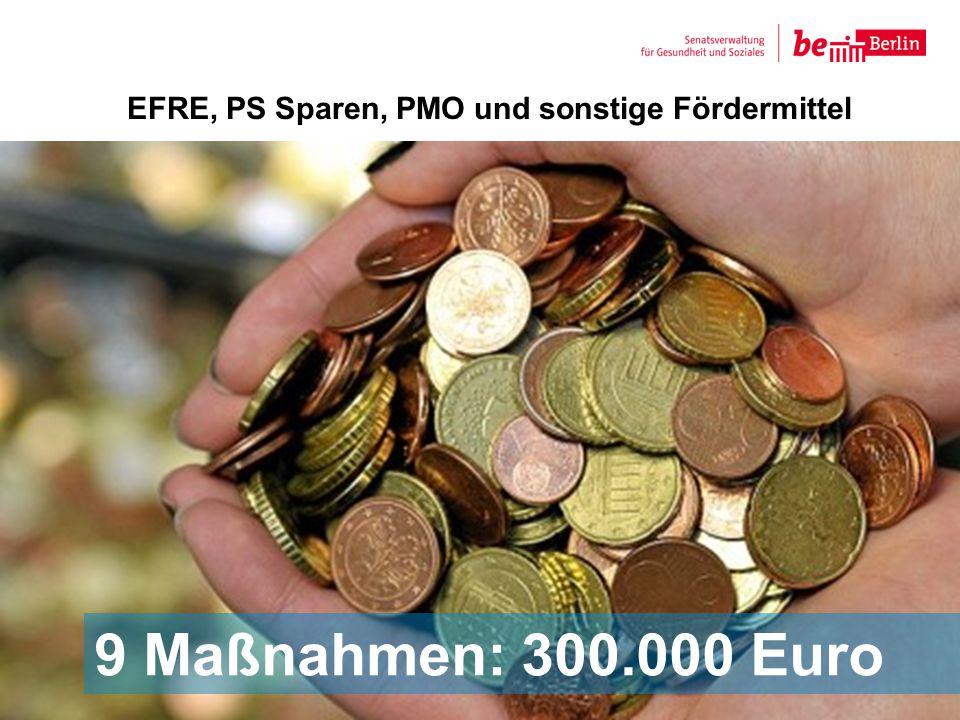 EFRE, PS Sparen, PMO und sonstige Fördermittel 9 9 Maßnahmen: 300.000 Euro