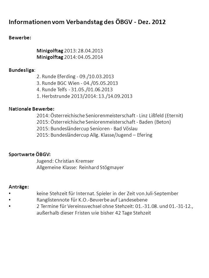 Informationen vom Verbandstag des ÖBGV - Dez.