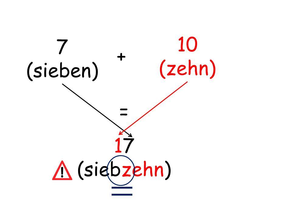 7 (sieben) + 10 (zehn) = 17 (siebzehn)